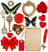 Objects For Valentines Day Scrapbook. Paper Page, Red Hearts, Photo Frame