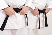 image of black-belt  - Two martial arts athlete tying the knot to his black belt - JPG