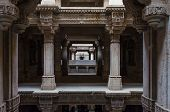 picture of pilaster  - Perspective of Adalaj Stepwell in Ahmedabad Gujarat India - JPG
