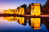 Madrid, Spain at the ancient Egyptian ruins of Temple Debod.