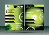 Booklet template design with green elements