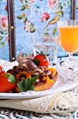 Bruschetta With Salad Vegetables And Octopus