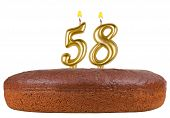 Birthday Cake With Candles Number 58 Isolated