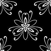 Damask Seamless Vector Pattern. Orient Background. Black and White Colors