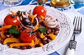Salad Of Cooked Beans, Vegetables And Octopus