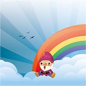 Dwarf on the cloud with rainbow and sunrise