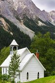 A small church in the mountains of Yoho National Park in Fields, British Colombia, Canada.