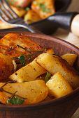 Hot Fried Potatoes In A Bowl Macro Vertical, Rustic