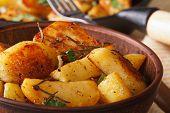 Hot Fried Potatoes In A Bowl Macro Horizontal, Rustic
