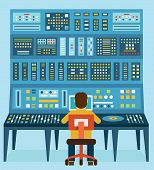 Vector Illustration Of Work Place Sound Engineer's. Mixing Console. Analog Synthesizer