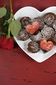 Happy Valentines Day Chocolate Dipped Heart Shaped Strawberries With Chocolate Roulade Swiss Roll On
