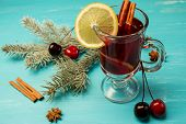 Mulled Wine On A Blue Background