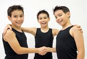 image of triplets  - Conceptual image of one child person as triplet three people together - JPG
