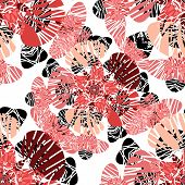 Seamless Pattern With Red Flowers Buds