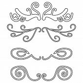 Set Of Decorative Borders, Vector Elements Isolated