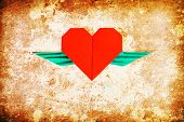 Red Heart Shape With Wings