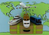 Concept of transport for trips on a map backgraund. 3d render illustration