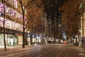 Star Light On Bahnhofstrasse In Zurich At Christmas Time