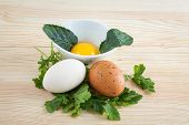 Eggs Of Different Types With Parsley