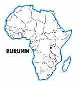 picture of burundi  - Burundi outline inset into a map of Africa over a white background - JPG