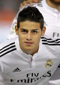 BARCELONA - MAY,11: James Rodriguez of Real Madrid during the Spanish Kings Cup match against UE Cornella at the Estadi Cornella on May 11, 2014 in Barcelona, Spain