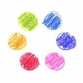 Vector set of children drawing pencil doodle circles. Colorful hand drawn palette