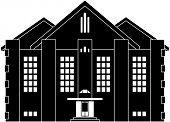 Black and white illustration of a house in classical style