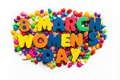8 March Women's Day Word In Colorful Stone