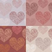 Set of 4 seamless patterns with ornate hearts