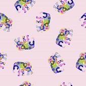 Vector colorful seamless pattern with elephant