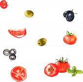 Watercolor seamless pattern with vegetables - tomatoes, olives