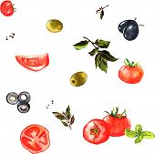 Watercolor seamless pattern with vegetables - tomatoes, olives, laurel spice
