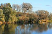 stock photo of flood  - River in autumn in a flood plain - JPG