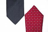 Red And Dark Blue Ties On A White Background