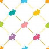 Easter Seamless pattern with cute rabbits, Vector illustration. Background with bright colors rabbit
