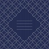 Japanese Embroidery Ornament with circles and place for your text. Sashiko seamless pattern.