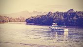 Retro Vintage Filtered Picture Of A Boat On The Krabi River.