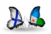 Two Butterflies With Flags On Wings As Symbol Of Relations Finland And Djibouti