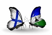 Two Butterflies With Flags On Wings As Symbol Of Relations Finland And Lesotho