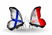 Two Butterflies With Flags On Wings As Symbol Of Relations Finland And Malta