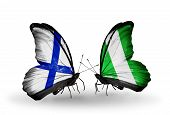 Two Butterflies With Flags On Wings As Symbol Of Relations Finland And Nigeria