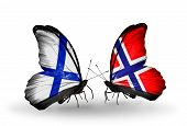 Two Butterflies With Flags On Wings As Symbol Of Relations Finland And Norway