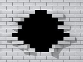 Black hole in white brick wall.