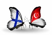 Two Butterflies With Flags On Wings As Symbol Of Relations Finland And Singapore