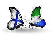 Two Butterflies With Flags On Wings As Symbol Of Relations Finland And Sierra Leone