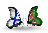 Two Butterflies With Flags On Wings As Symbol Of Relations Finland And Turkmenistan