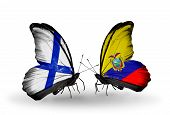 Two Butterflies With Flags On Wings As Symbol Of Relations Finland And Ecuador