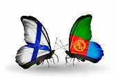 pic of eritrea  - Two butterflies with flags on wings as symbol of relations Finland and Eritrea - JPG