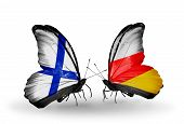 Two Butterflies With Flags On Wings As Symbol Of Relations Finland And South Ossetia