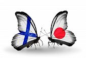 Two Butterflies With Flags On Wings As Symbol Of Relations Finland And Japan
